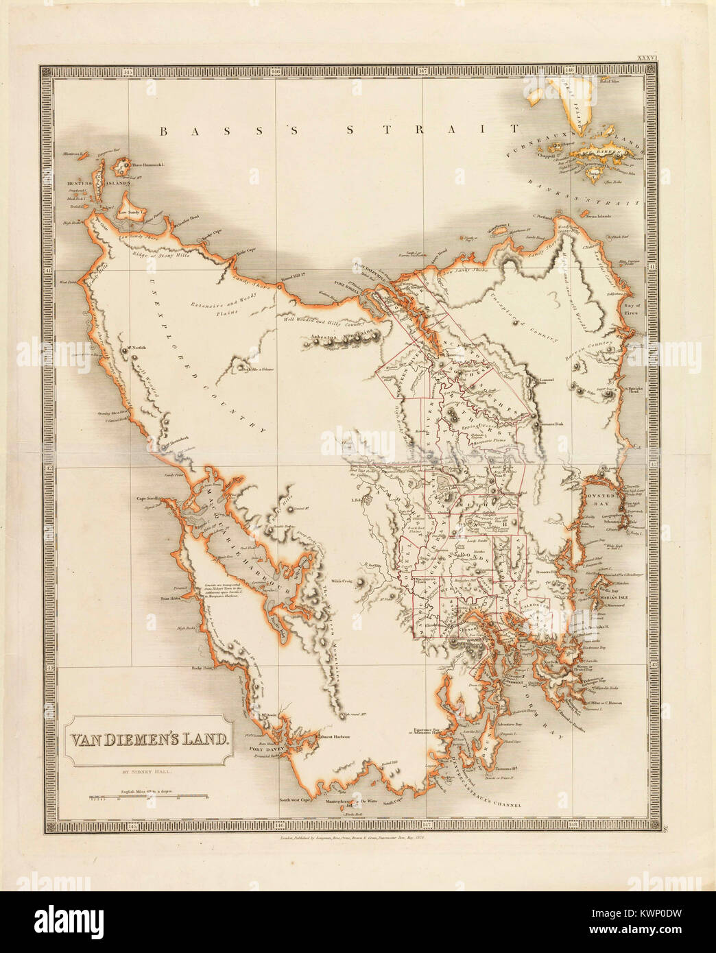 Van Diemen's Land was the original name used by most Europeans for the island of Tasmania, now part of Australia. - Stock Image