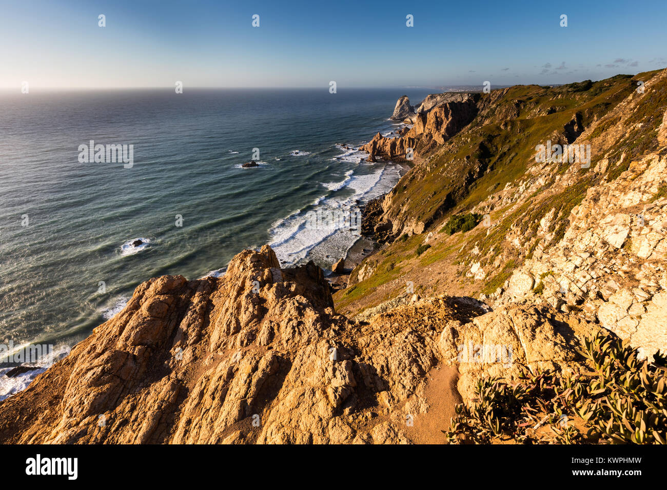 Cape Roca forms the westernmost extent of mainland Portugal, continental Europe and the Eurasian land mass. - Stock Image