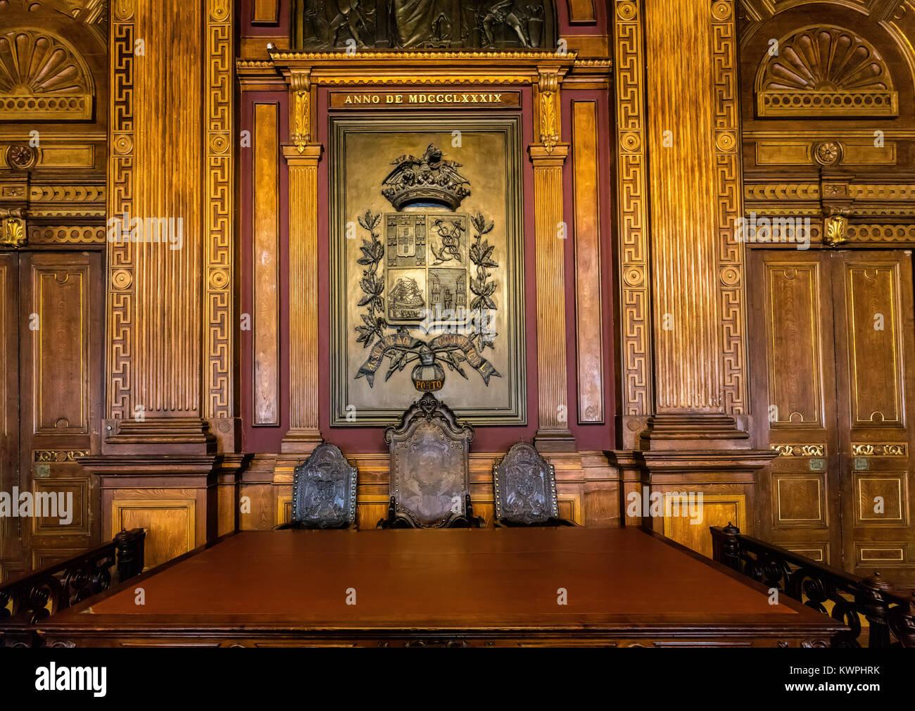 Porto, Portugal, August 15, 2017: Interior of the Neoclassical Bolsa Palace (Stock Exchange Palace) built in the - Stock Image