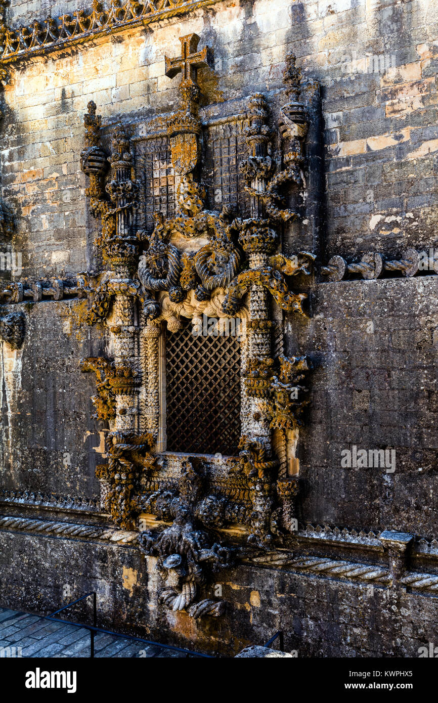 Tomar, Portugal, August 12, 2017: The famous chapterhouse window in the Tomar's Convent of Christ, made by Diogo - Stock Image