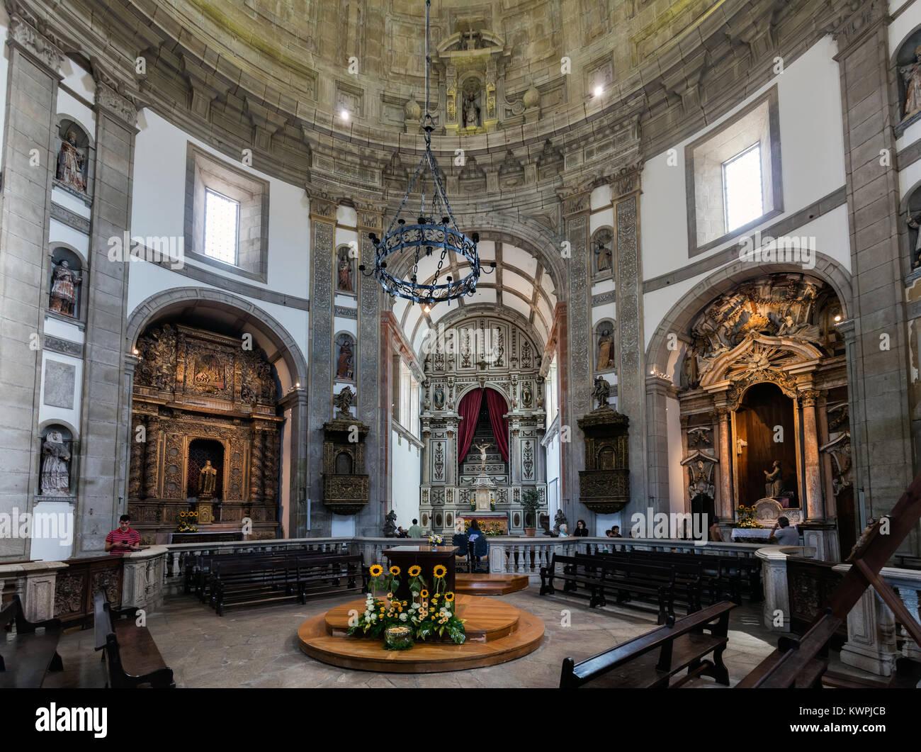 Porto, Portugal, August 15, 2017: Interior of the 17th-century Serra do Pilar Monastery in Porto, Portugal. UNESCO - Stock Image