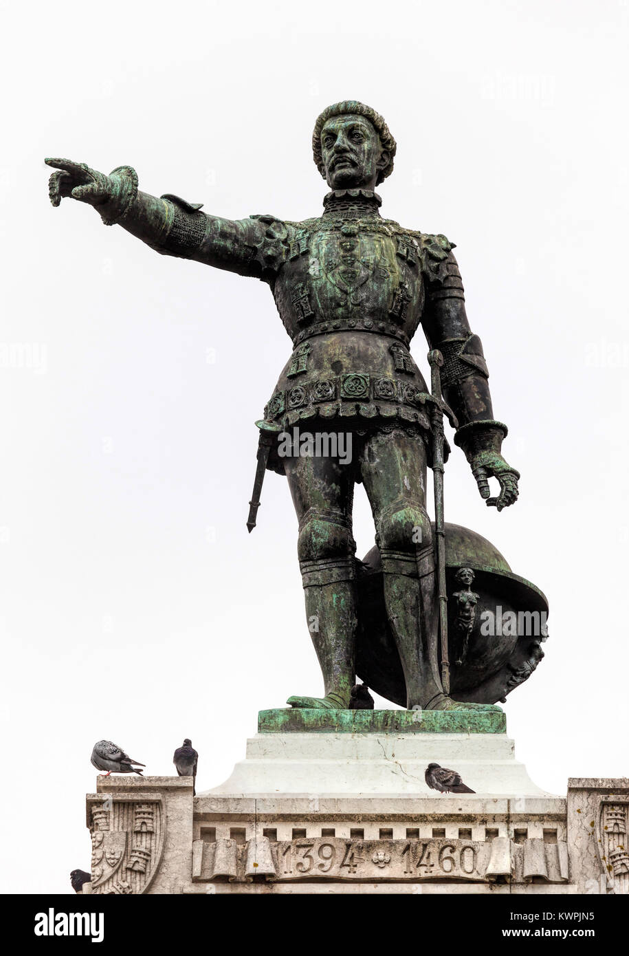 Statue of Henry the Navigator on the Infante D. Henrique square in Porto, Portugal, sculpted by Tomas Costa, started - Stock Image