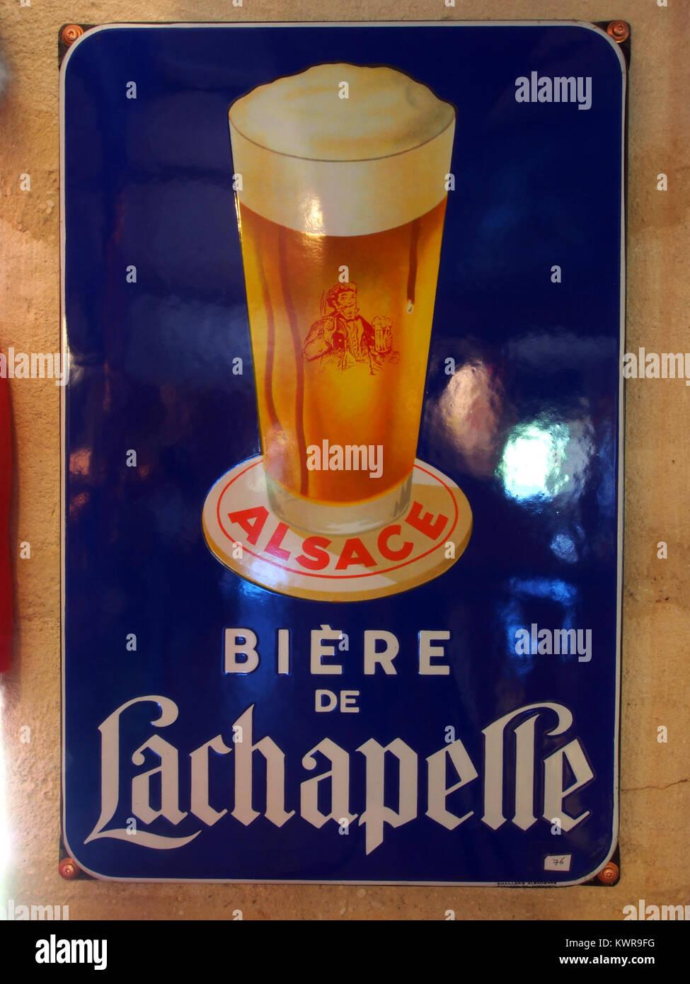 Bière de Lachapelle , enamel advertising sign at the Musée Européen de la Bière - Stock Image