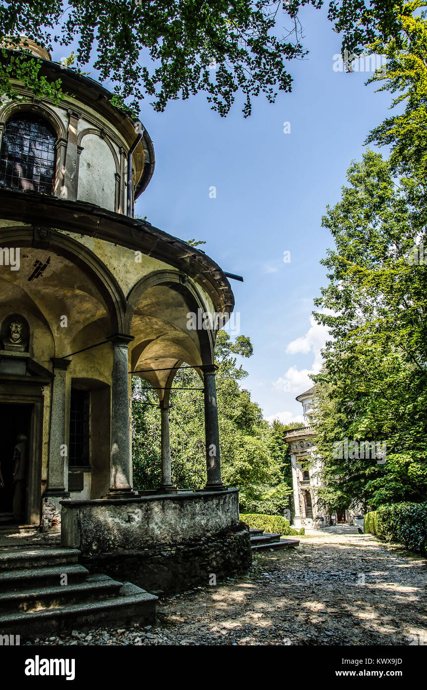 The religious complex of the Sacro Monte of Orta lies on the hill above the village, looking out over Lake Orta. - Stock Image
