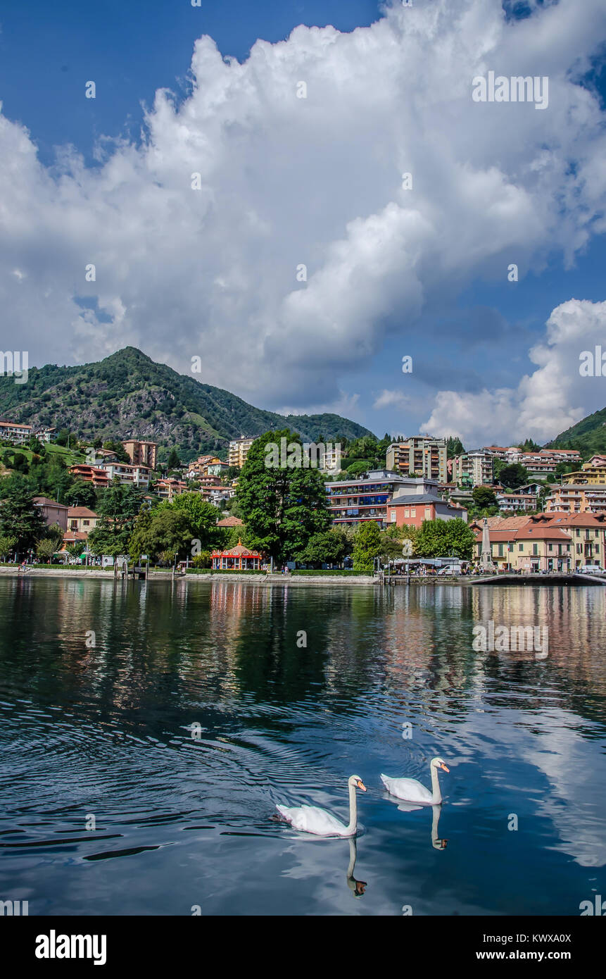 Omegna is a municipality in the Province of Verbano-Cusio-Ossola in the Italian region Piedmont at the northernmost - Stock Image