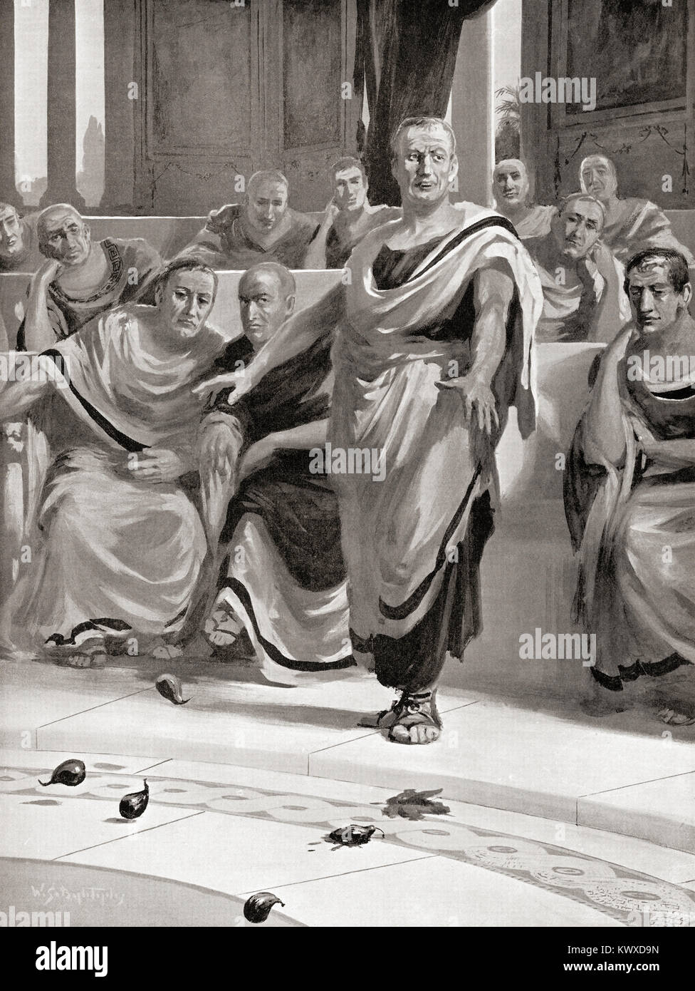 Delenda est Carthago, (Carthage must be destroyed) Latin oratorical phrase used by Cato the Elder to close all his - Stock Image
