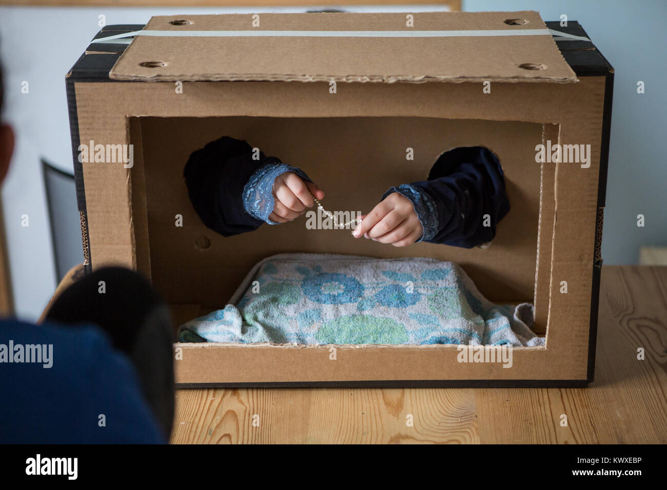 Whats in the box challenge. Feeling things playing the game - Stock Image