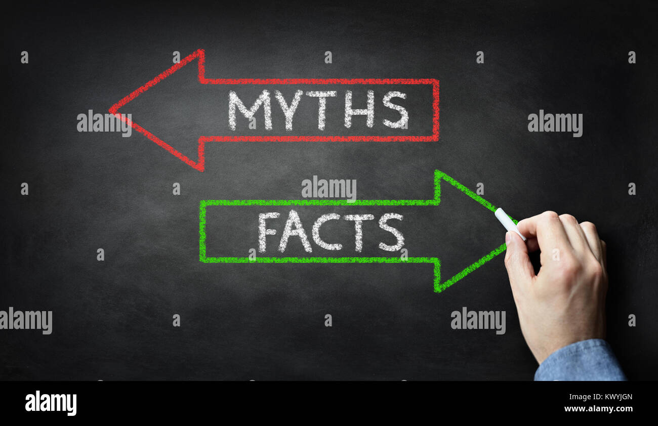 Businessman drawing Myths or Facts on blackboard concept - Stock Image