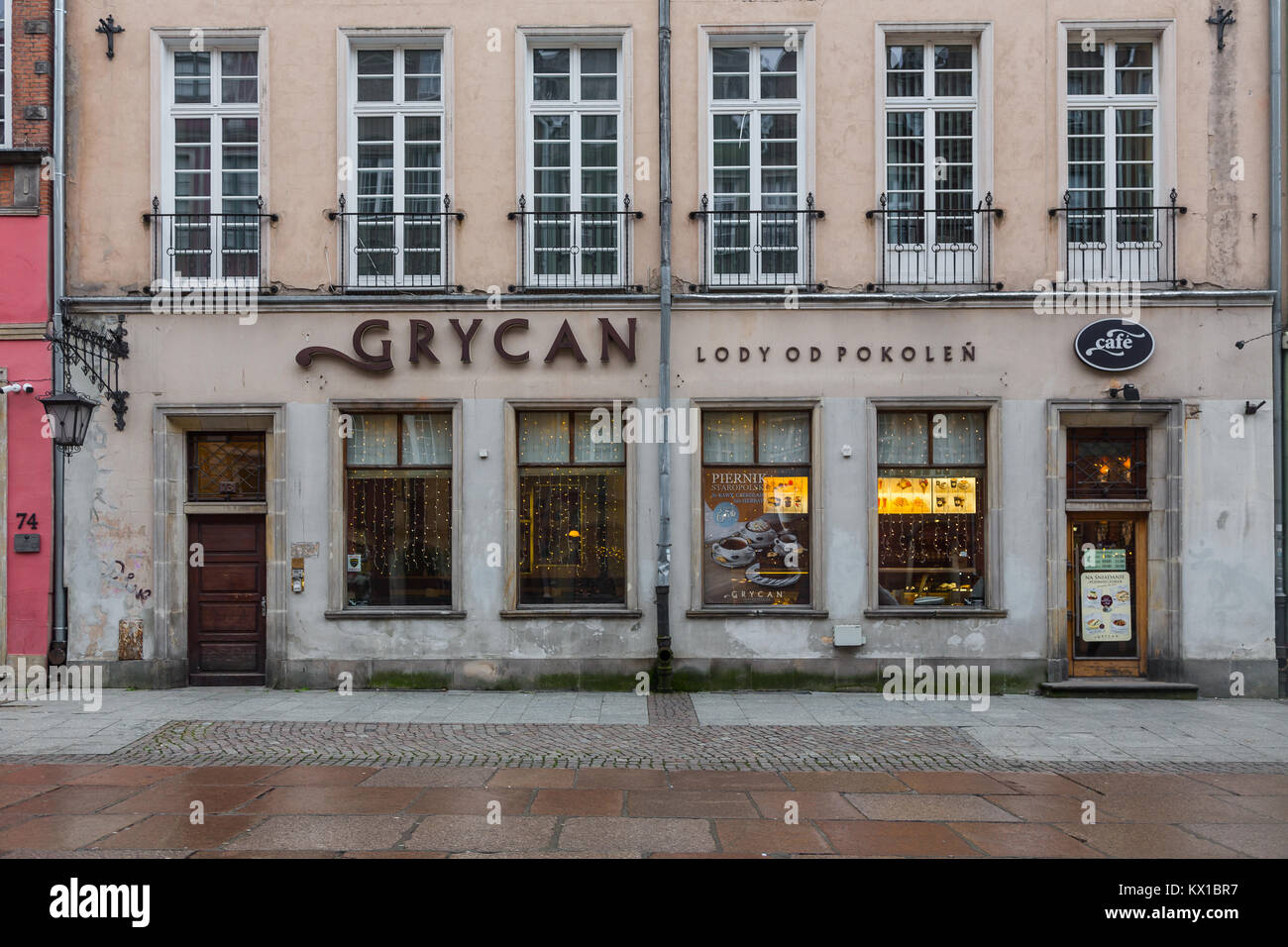 Grycan coffee shop in Gdansk, Poland - Stock Image
