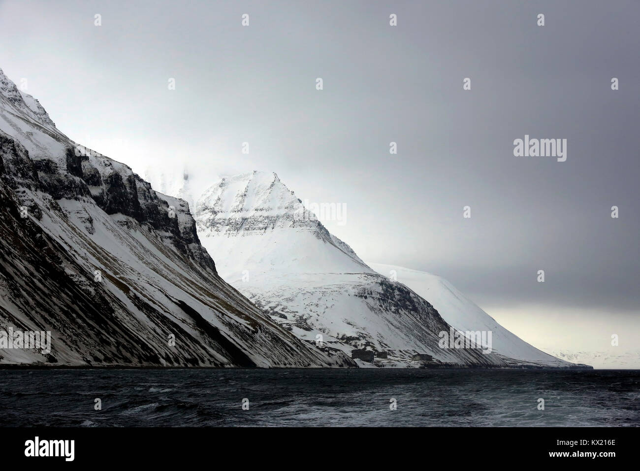 Mountains outside Longearbyen, Viewed from Water. Svalbard, Norway - Stock Image