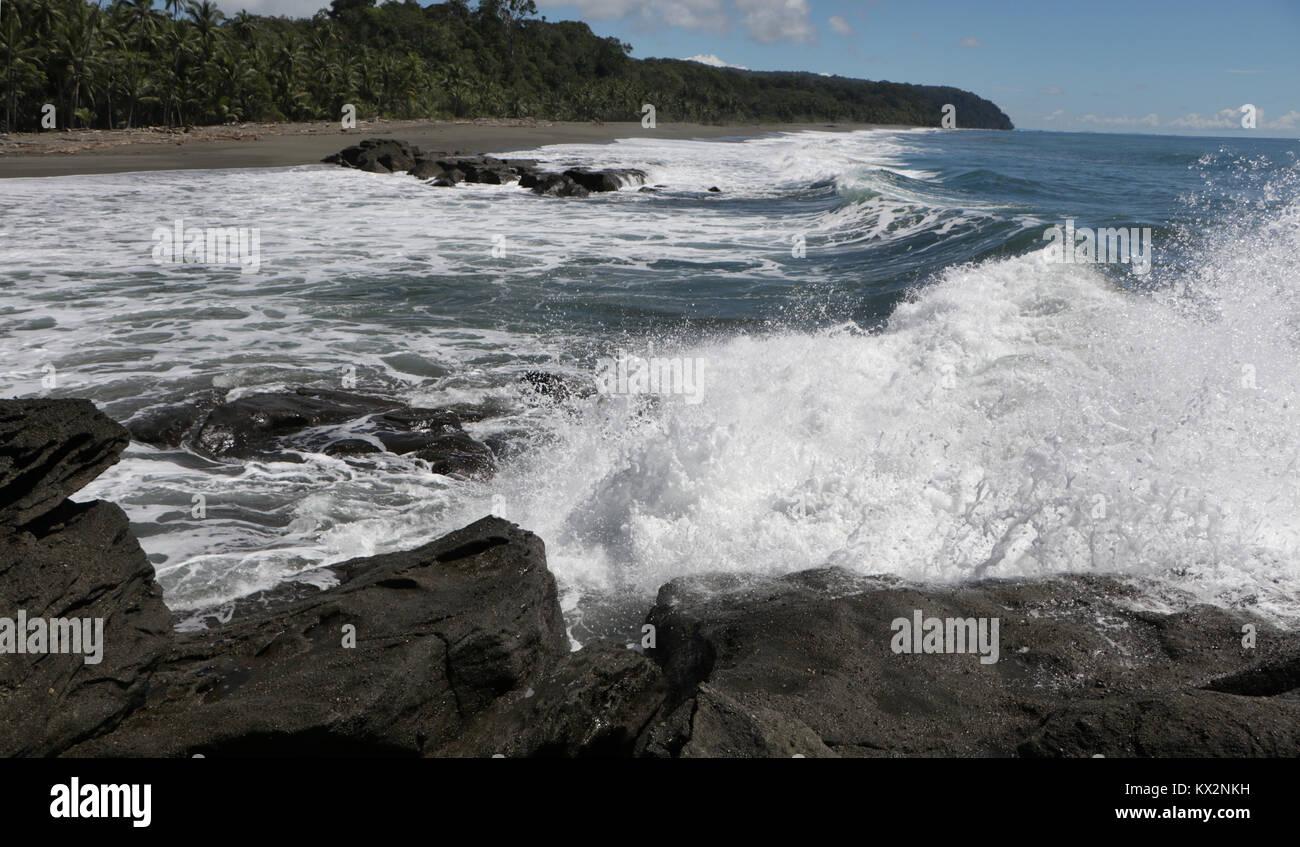 Costa rica Osa Peninsula rocky beach - Stock Image