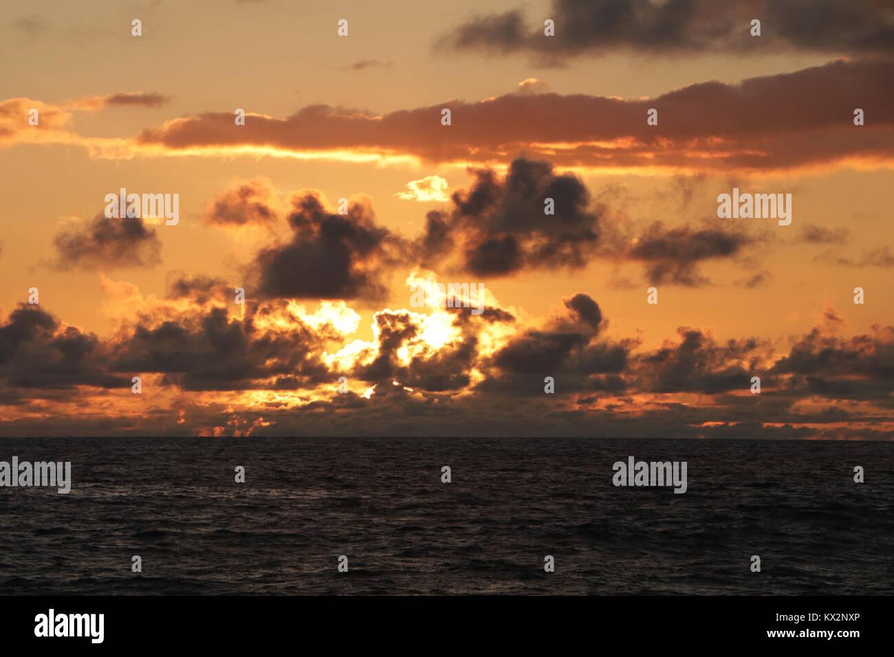 sunset Costa Rica Pacific coast, the Osa Peninsula - Stock Image