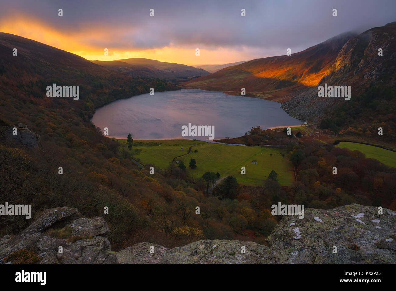 Lough Tay lake in Wicklow Mountains - Ireland - Stock Image