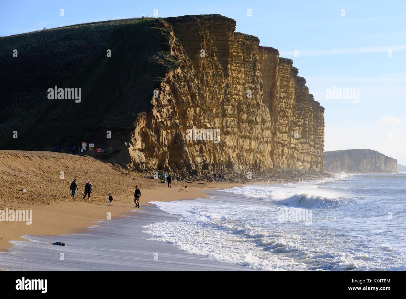 west-bay-dorset-uk-7-january-2018-beach-