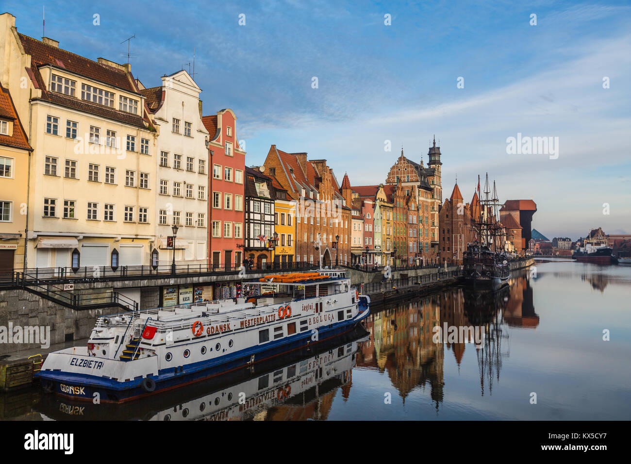 Old historical houses along the Motlawa River in Gdansk (Danzig), Poland - Stock Image
