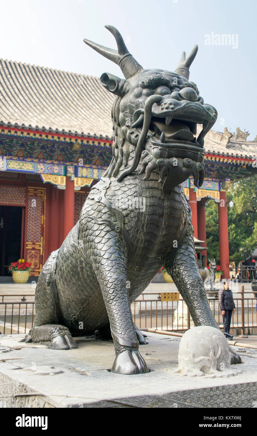 Bronze Qilin statue in Summer Palace. Beijing, China, PRC - Stock Image