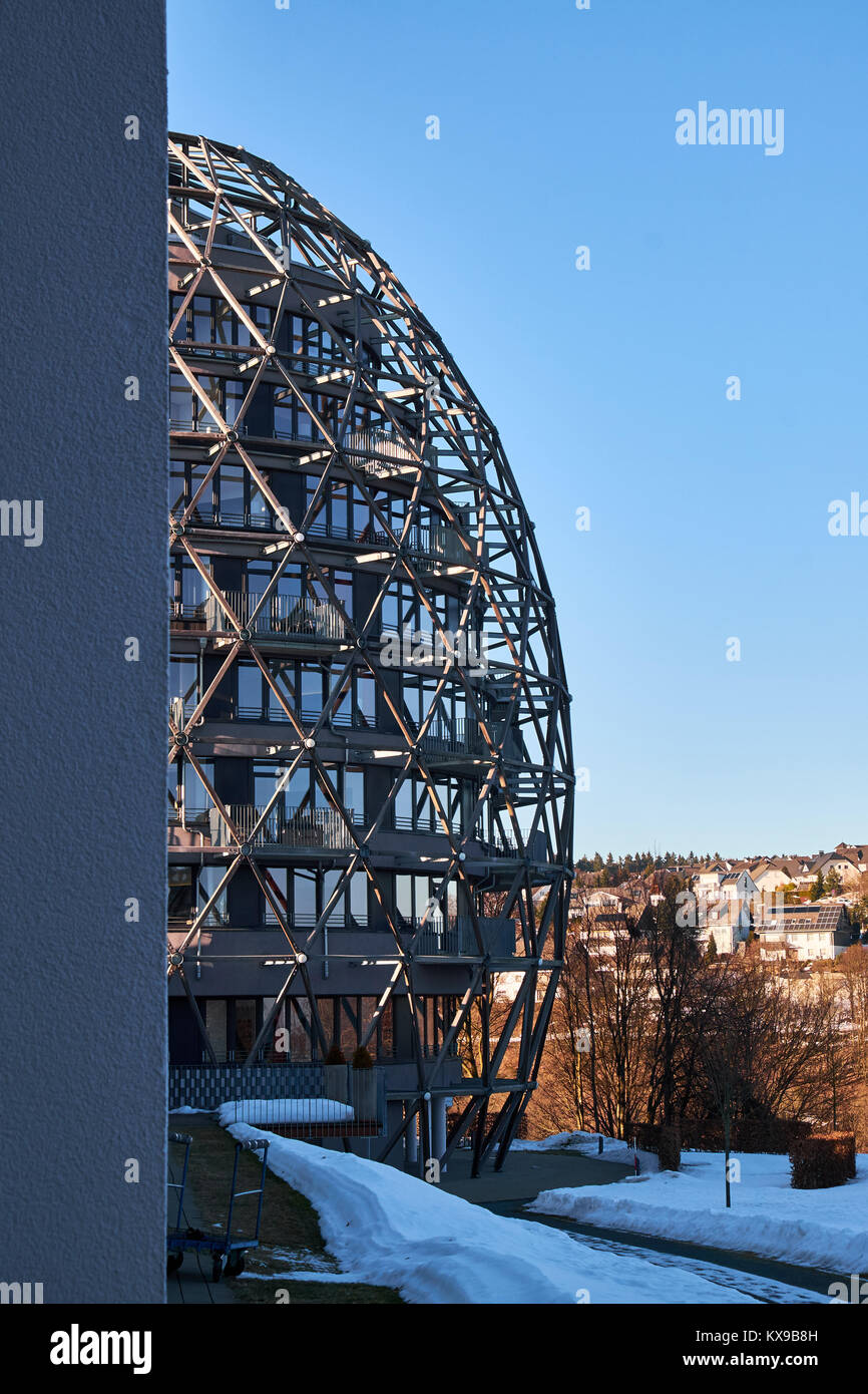 WINTERBERG, GERMANY - FEBRUARY 14, 2017: Modern rounded egg shaped framework building in Winterberg - Stock Image