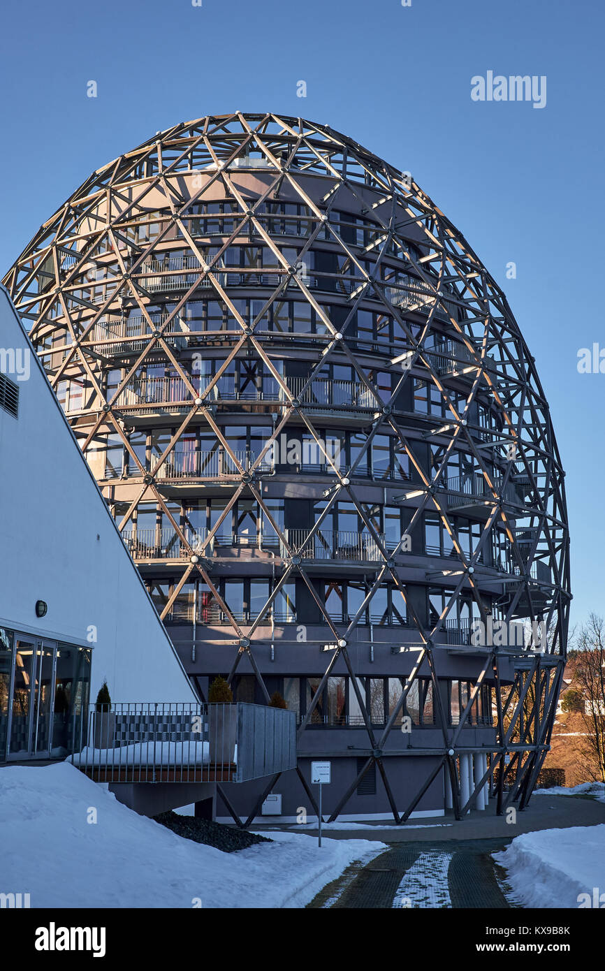 WINTERBERG, GERMANY - FEBRUARY 14, 2017: The egg shaped hotel part of Oversum Vital Resort made of timber framework - Stock Image