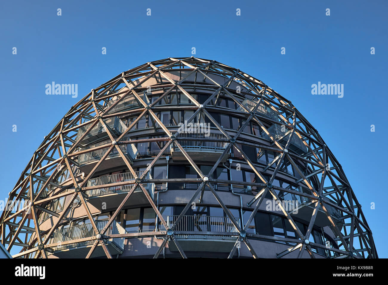 WINTERBERG, GERMANY - FEBRUARY 14, 2017: The top of a architectural dome shaped building made of framework in wood - Stock Image