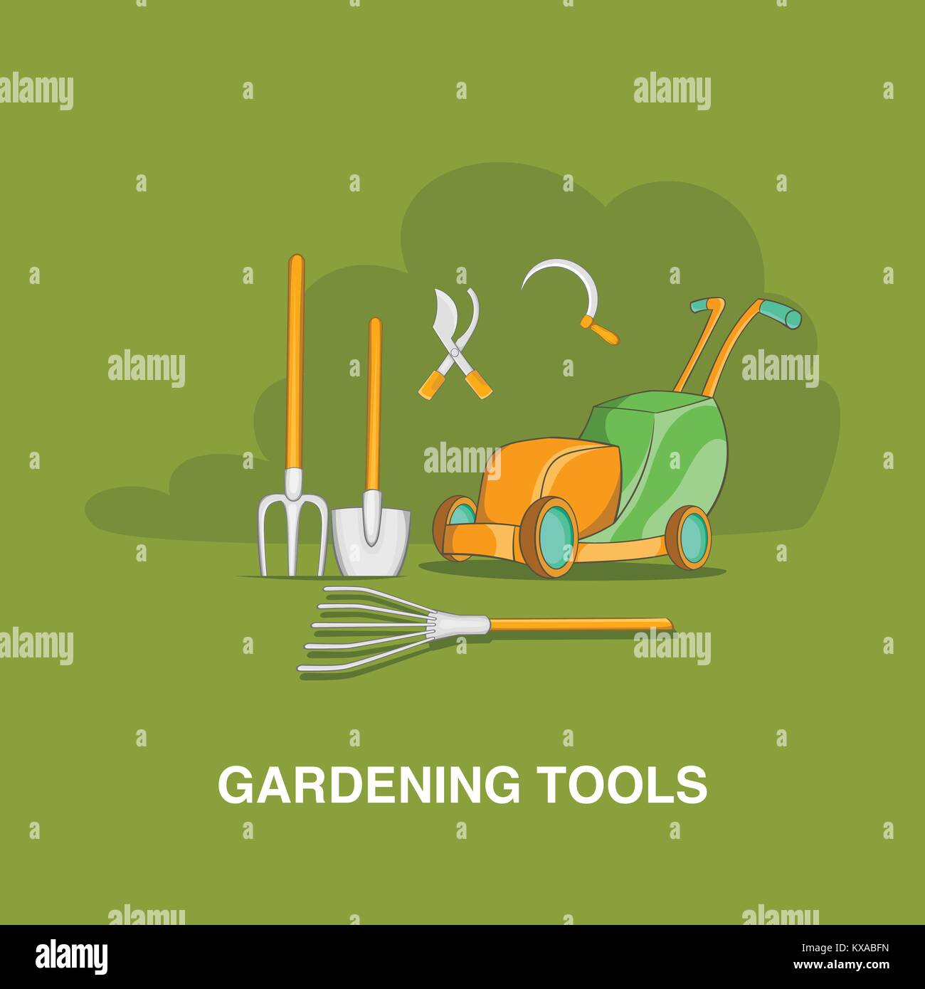 Cartoon mower stock photos cartoon mower stock images for Gardening tools cartoon