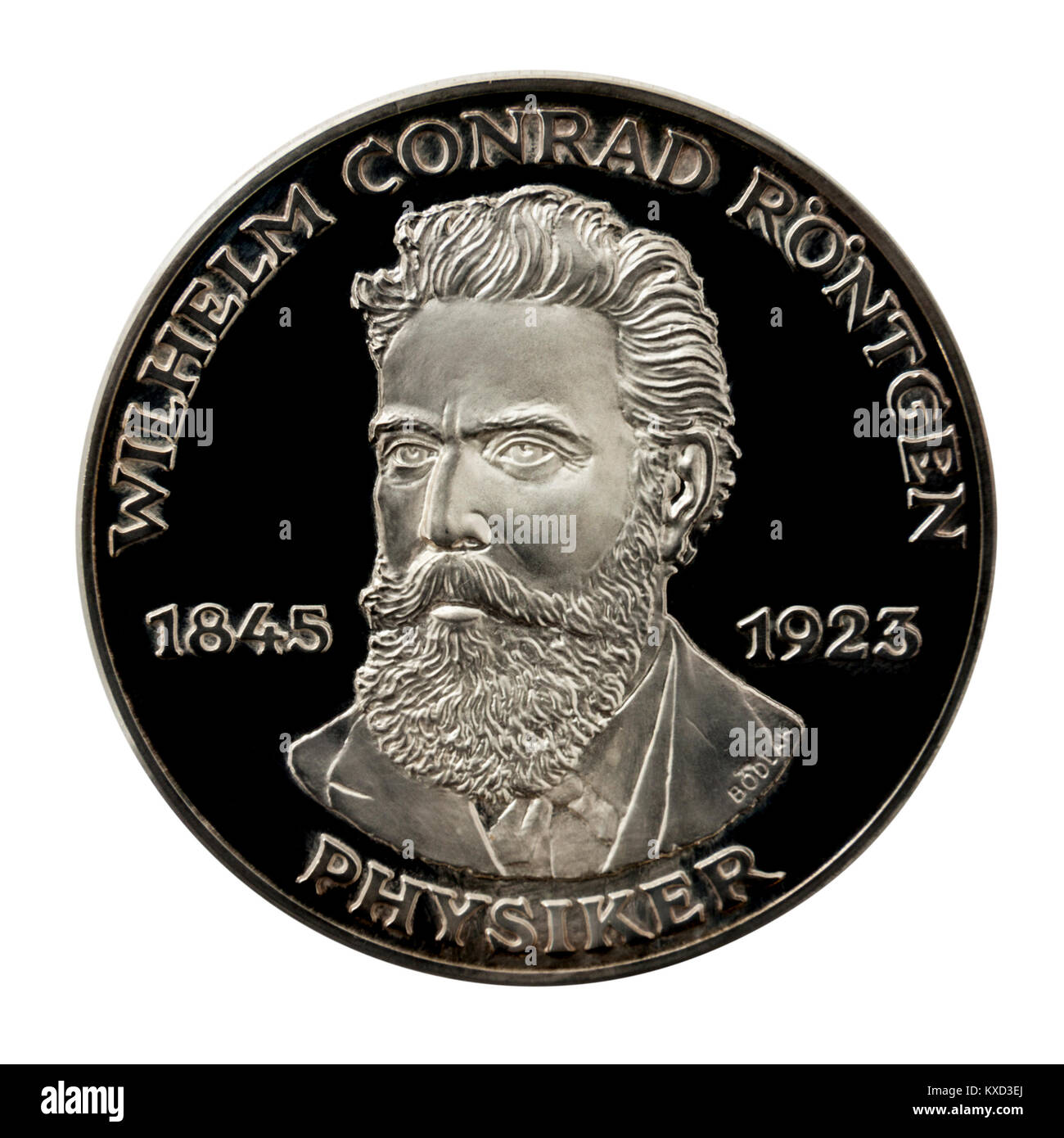 99.9% Proof Silver Medallion featuring Wilhelm Conrad Röntgen, the famous German inventor of X-rays. - Stock Image