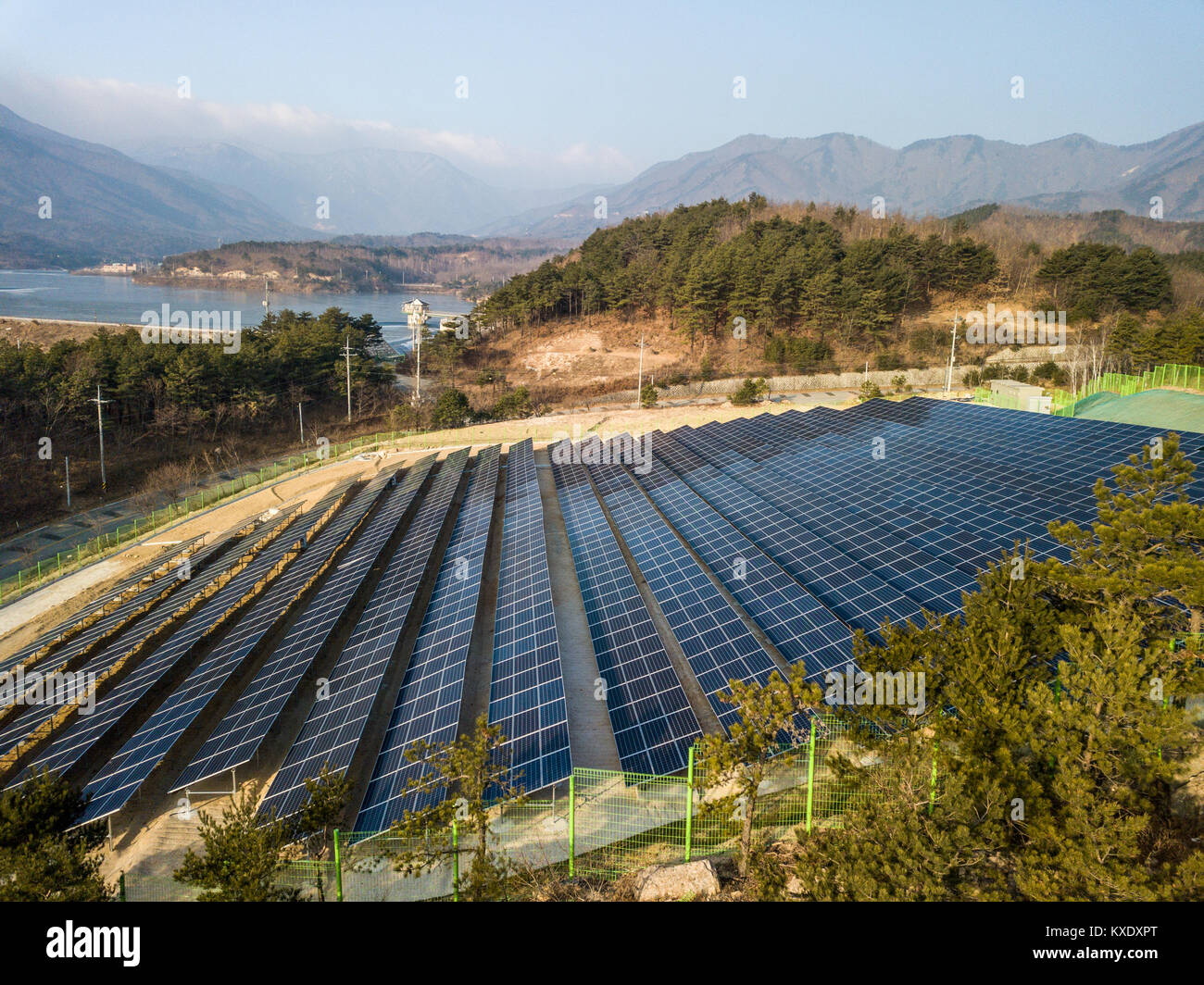 Solar panels in rural eastern South Korea - Stock Image