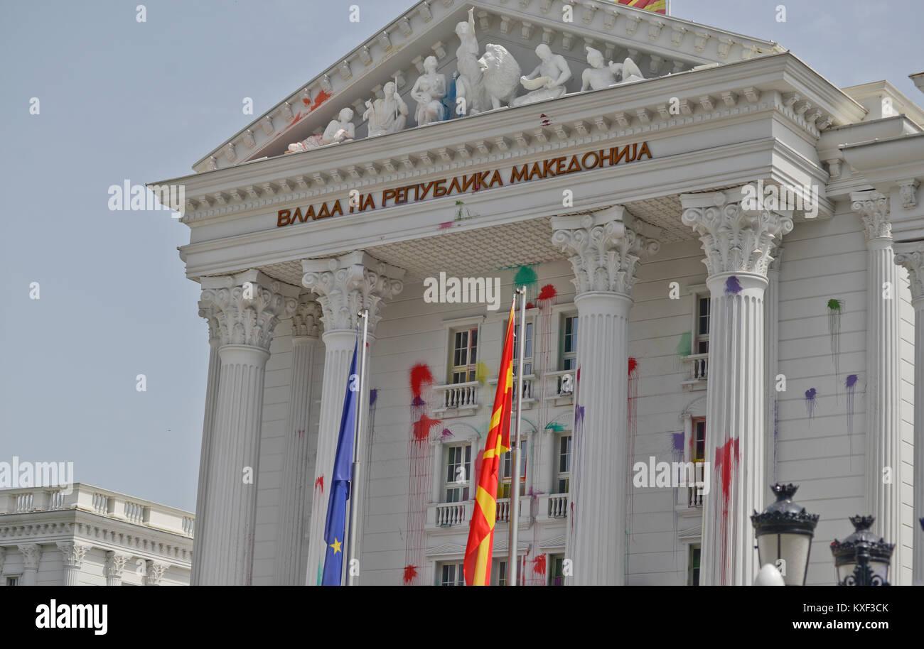 House opf Government of Macedonia (Vlada Na Republika Makedonija), Skopje - Stock Image
