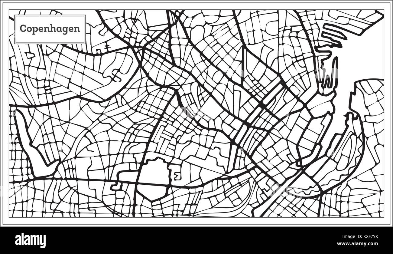 Copenhagen Map in Black and White Color. Vector Illustration. Outline Map. - Stock Image