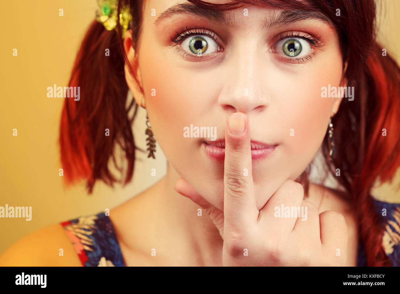 Idea concept. Young funny girl thinking for decision - Stock Image