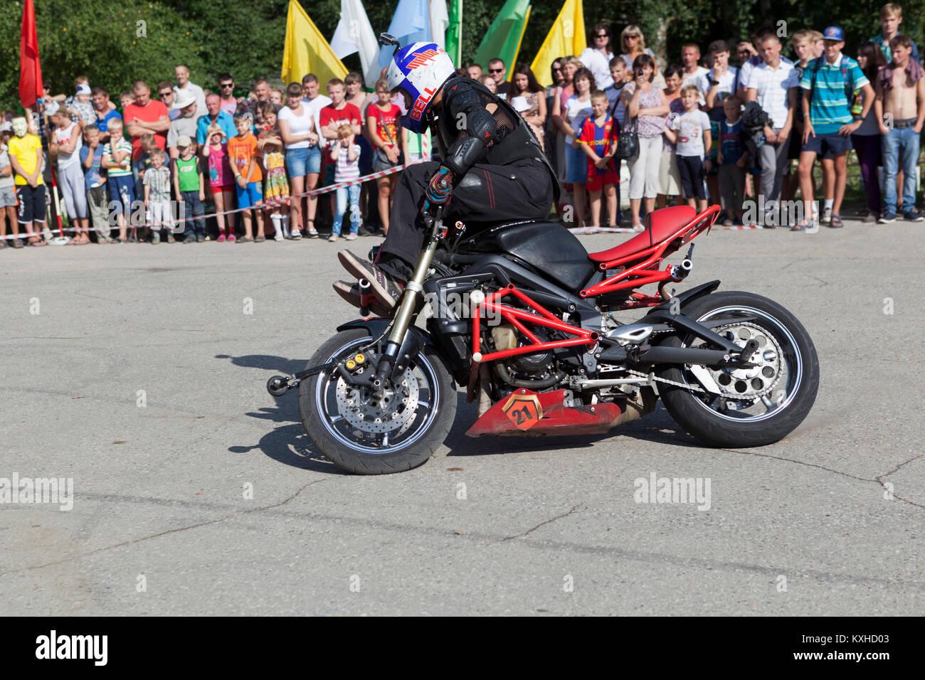 Verkhovazhye, Vologda region, Russia - August 10, 2013: Alexei Kalinin motorcycle show in the village Verkhovazhye - Stock Image