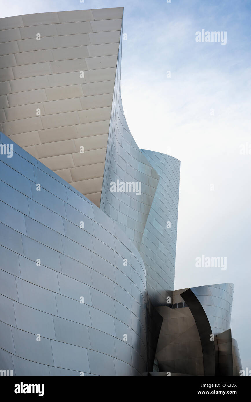 Walt Disney Concert Hall designed by Frank Gehry, in Downtown Los Angeles. - Stock Image