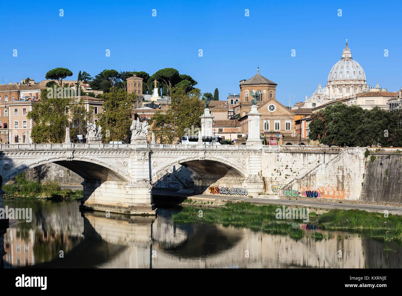 Ponte Vittorio Emanuele II, Rome, Italy. - Stock Image