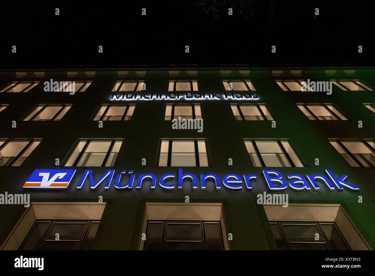 MUNICH, GERMANY - DECEMBER 17, 2017: Munchner Bank logo on their Munich main office (Munchner Bank Haus) taken at - Stock Image