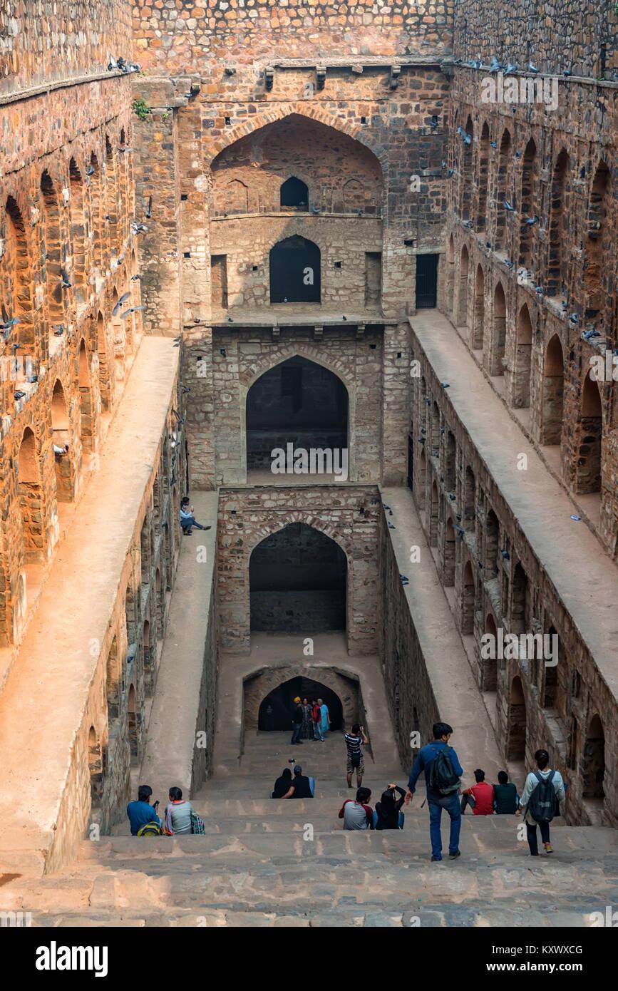 NEW DELHI, INDIA - CIRCA NOVEMBER 2017: Stairs of Ugrasen ki Baoli - Stock Image