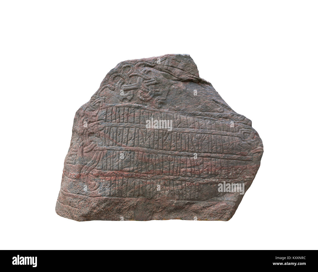 Isolated on white cutout of the large Jelling rune stone from the 10th century raised by King Harald Bluetooth in - Stock Image