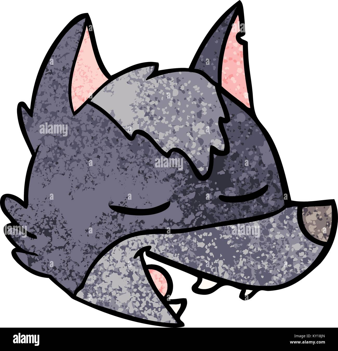 Cute cartoon wolf head