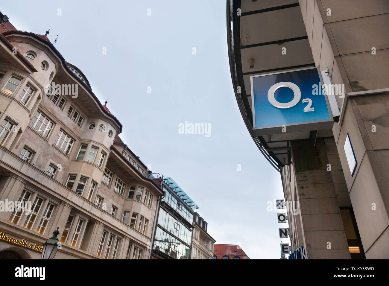 MUNICH, GERMANY - DECEMBER 18, 2017: O2 logo on their Munich main shop. O2 is one of the main phone carriers and - Stock Image