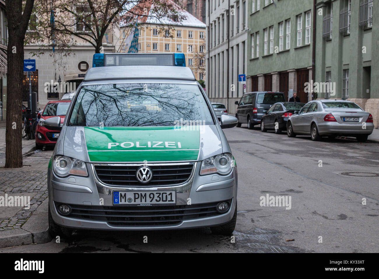 MUNICH, GERMANY - DECEMBER 18, 2017: Volkswagen from the Bavarian State police (polizei) taken in Munich. The Bavarian - Stock Image