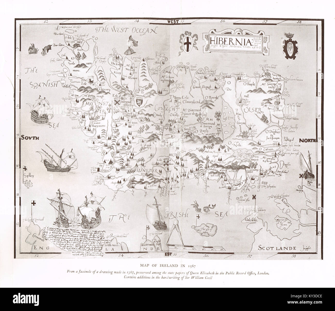 Illustrated Map of Ireland in 1567 - Stock Image