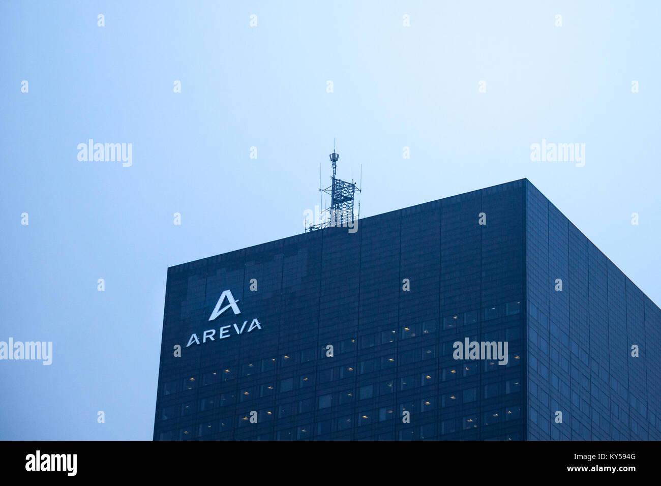 PARIS, FRANCE - DECEMBER 20, 2017: Areva logo on their main office in La Defense district. Areva is a French multinational - Stock Image