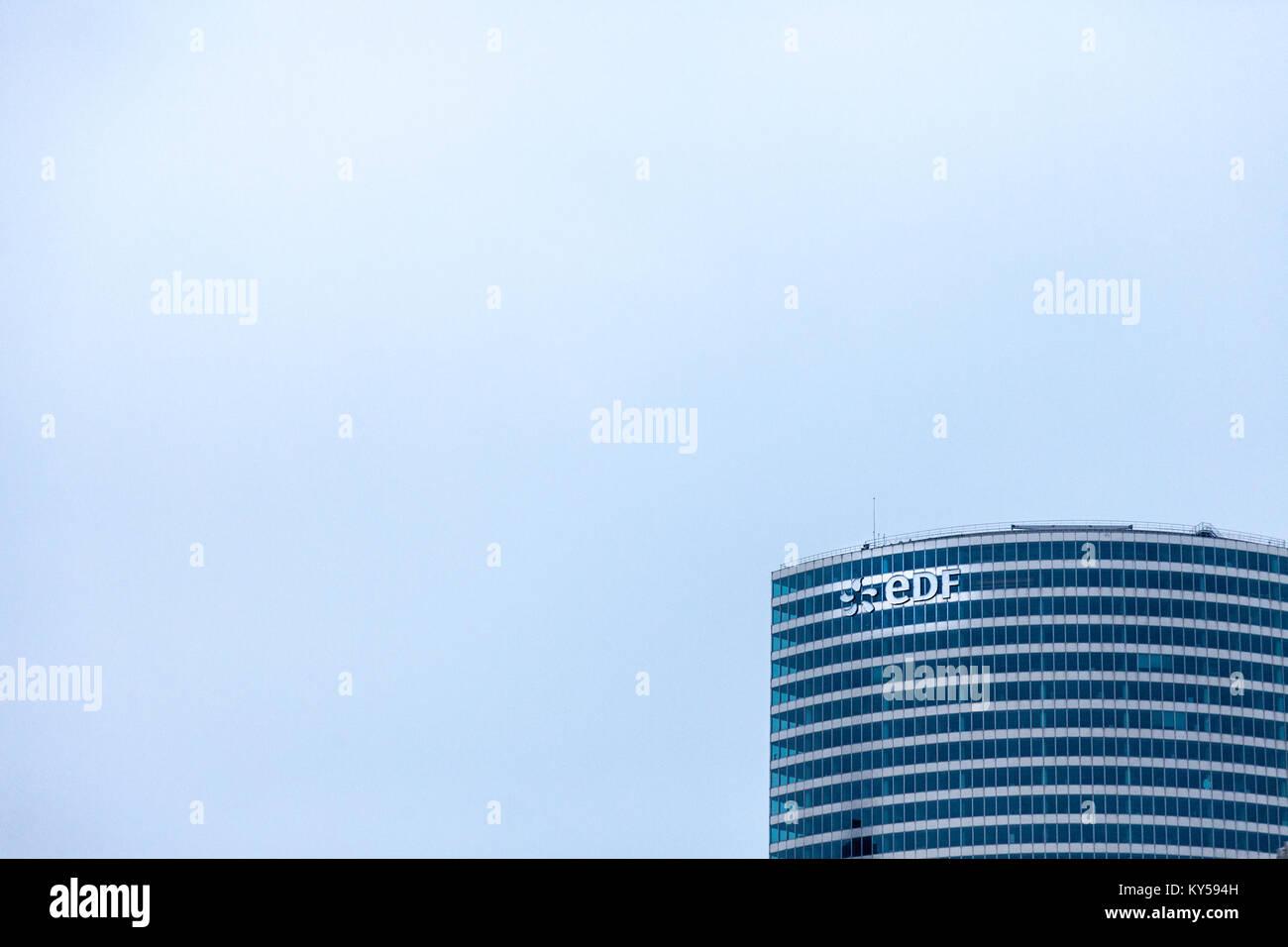 PARIS, FRANCE - DECEMBER 20, 2017: EDF logo on their main office in La Defense district. Electricite de France (EDF) - Stock Image