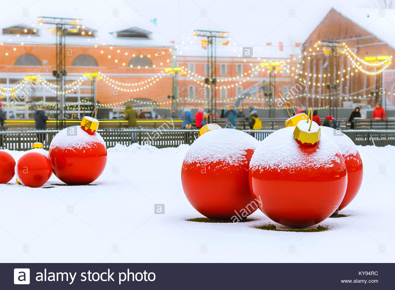 New Year decoration of the complex New Holland, St. Petersburg, Russia, January 1, 2018 - Stock Image
