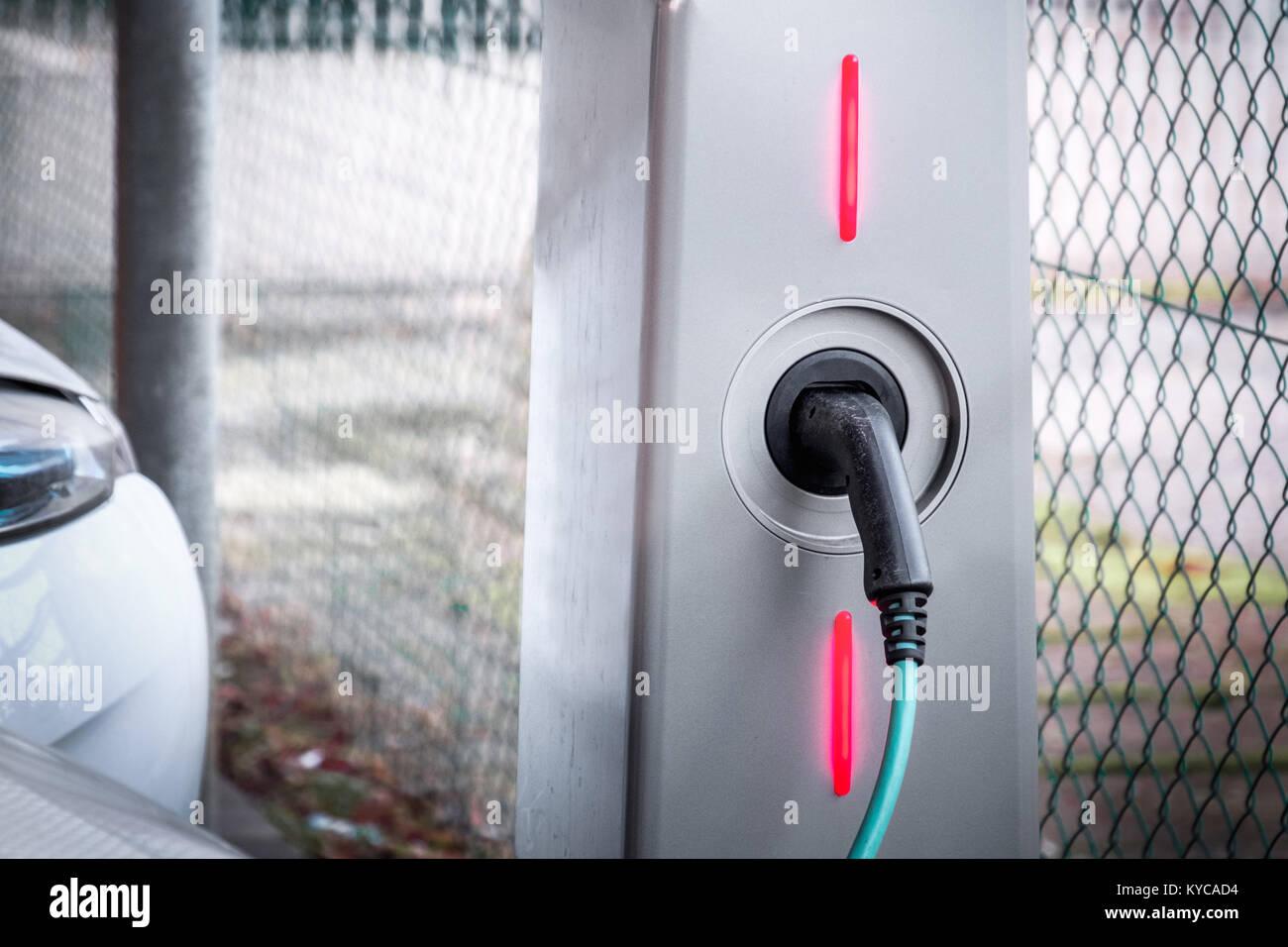 charging station electric car motor ecologically sustainable transportation - Stock Image