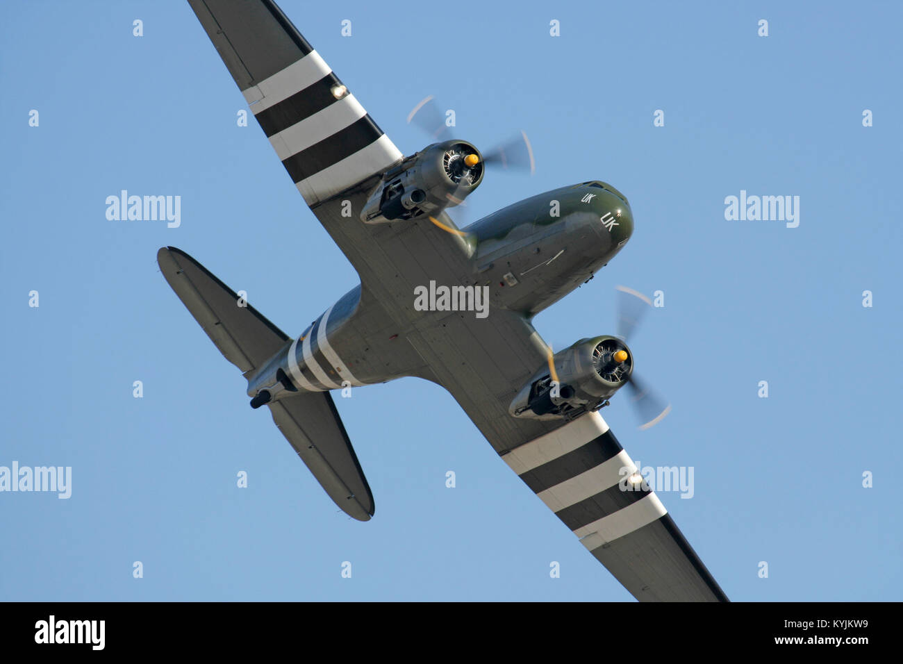 C-47 Skytrain (DC-3 Dakota) vintage plane of the Royal Air Force Battle of Britain Memorial Flight in an air display - Stock Image