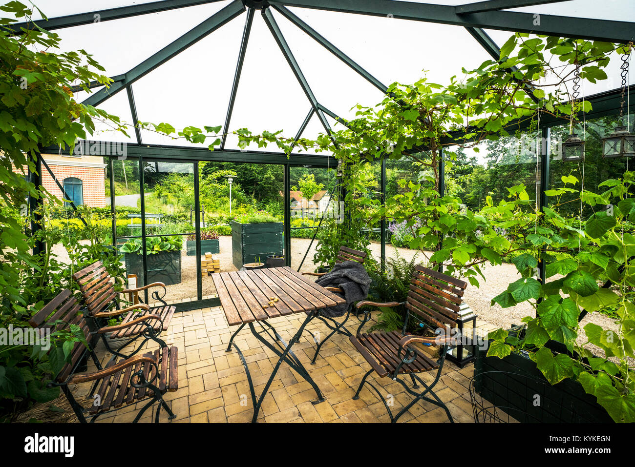 Terrace in a glass house with wooden garden furniture in the summer with green plants - Stock Image