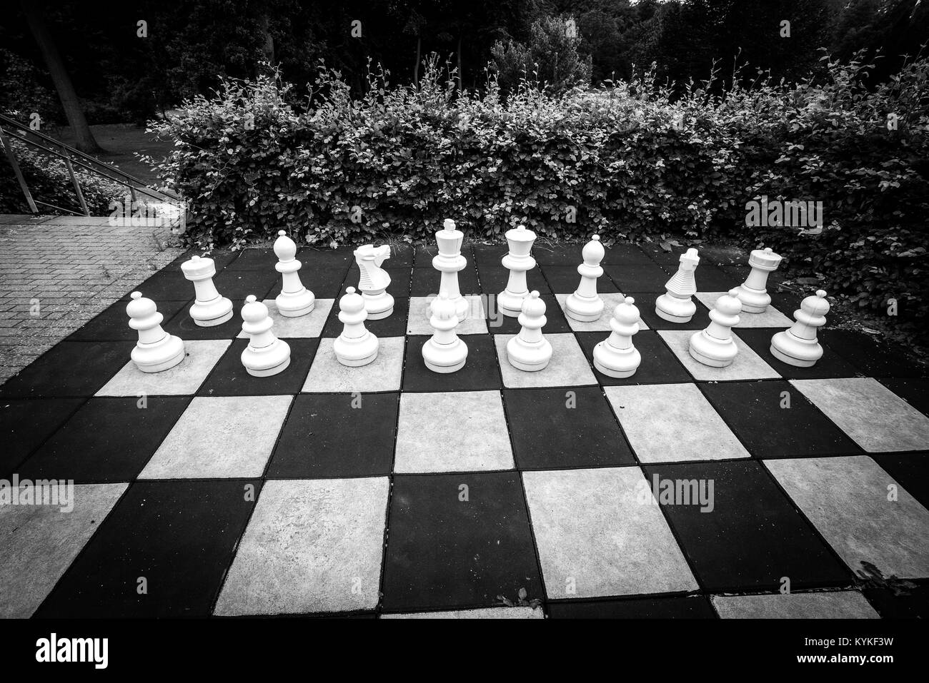 White pieces in a large chess game in a garden in black and white colors - Stock Image