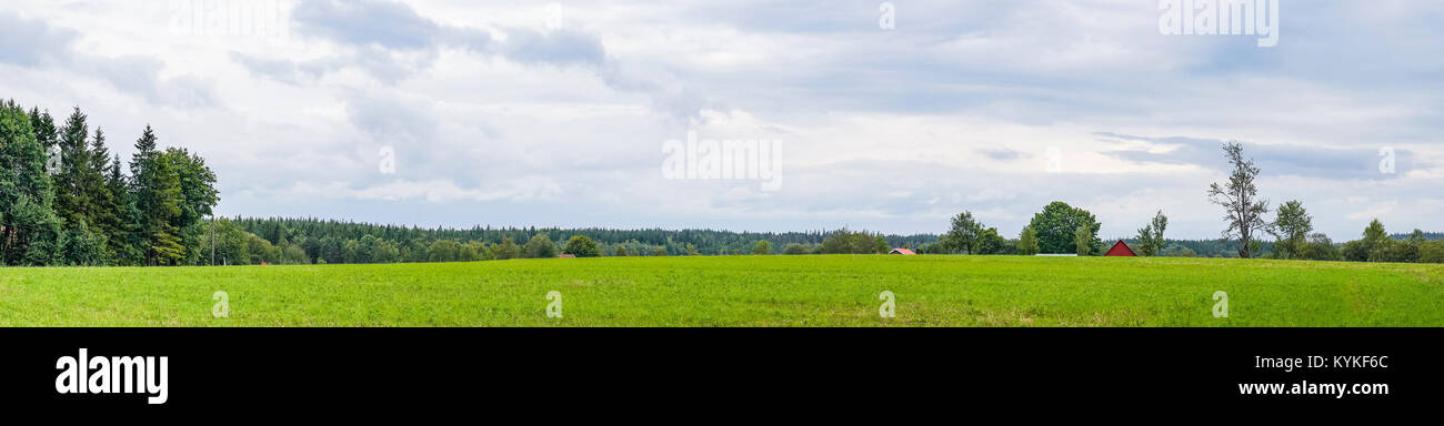 Panorama landscape with a red barn on a green field in rural environment on a cloudy day - Stock Image