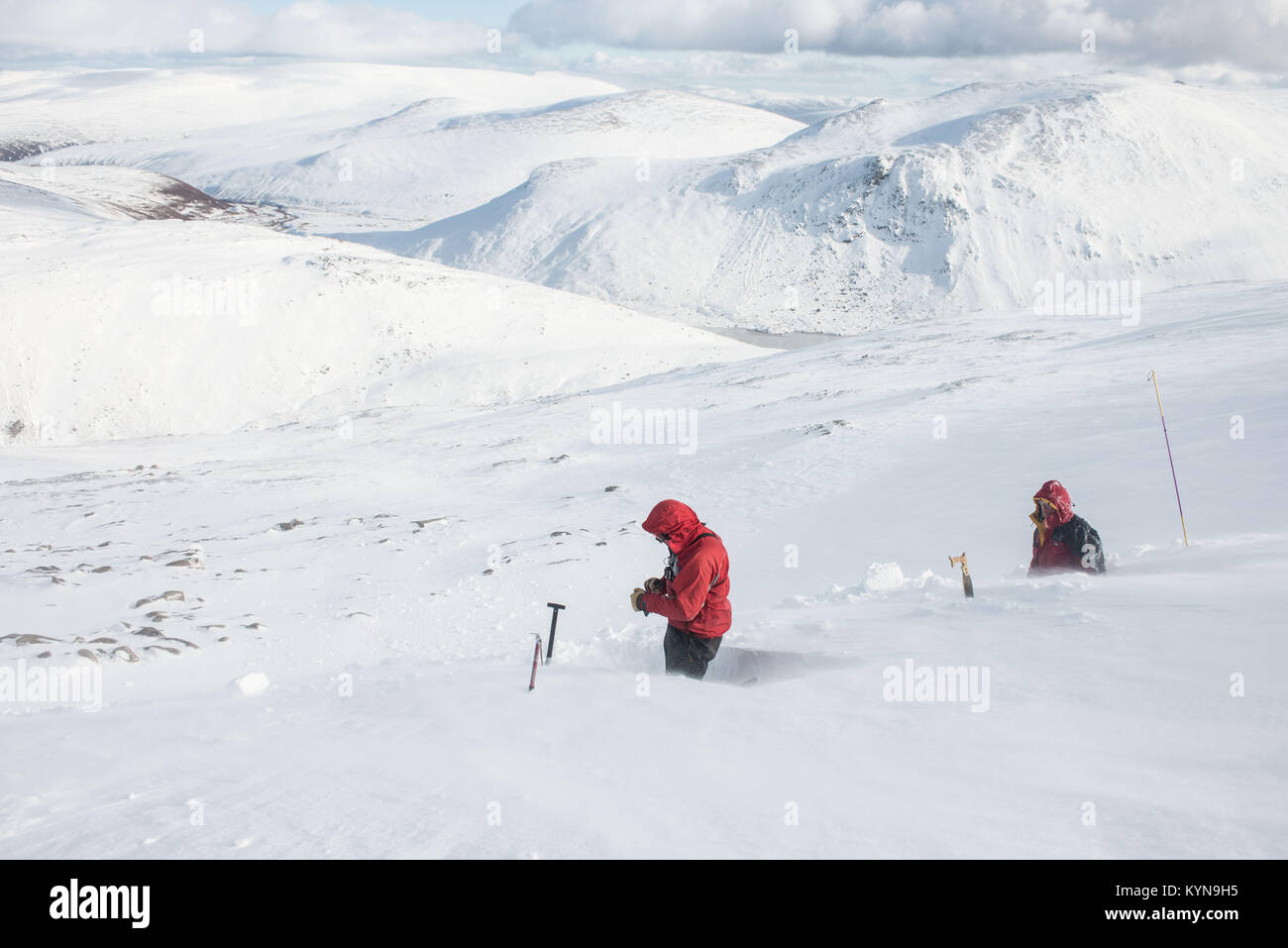 Snow hole digging - getting started. ©Paul Glendell - Stock Image