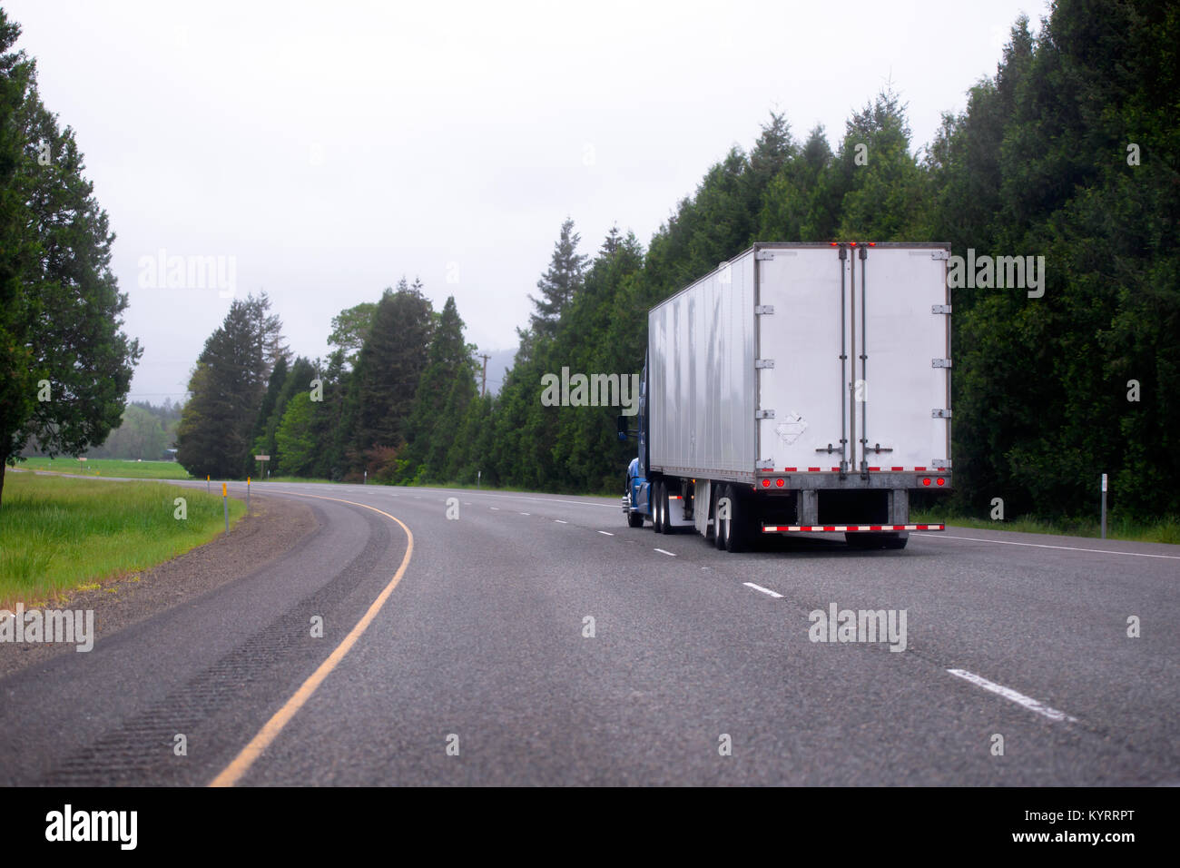 Big Rig Summer : Blue lorry trailer stock photos