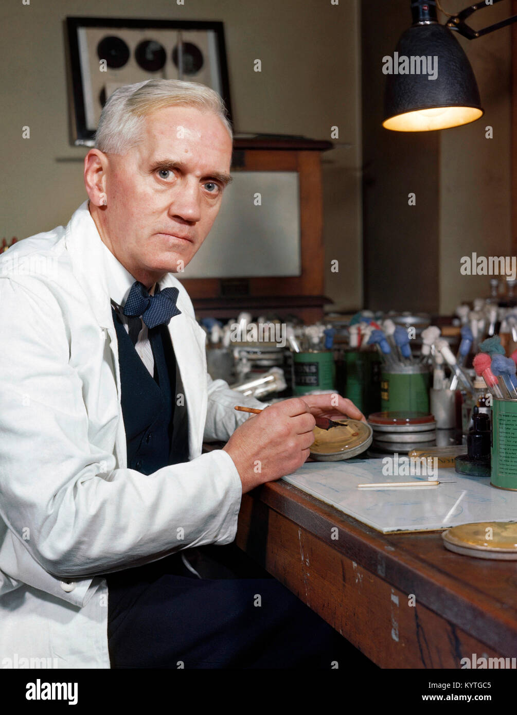 Sir Alexander Fleming (1881-1955), the Scottish scientist famous for the discovery of penicillin. Photo taken between - Stock Image